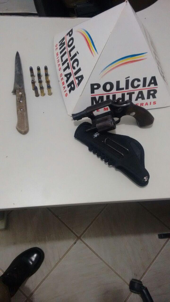 HOMEM É PRESO DEPOIS DE AMEAÇAR A MULHER COM .38