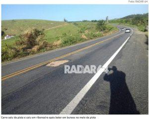 Buraco na pista que pode ter causado o acidente
