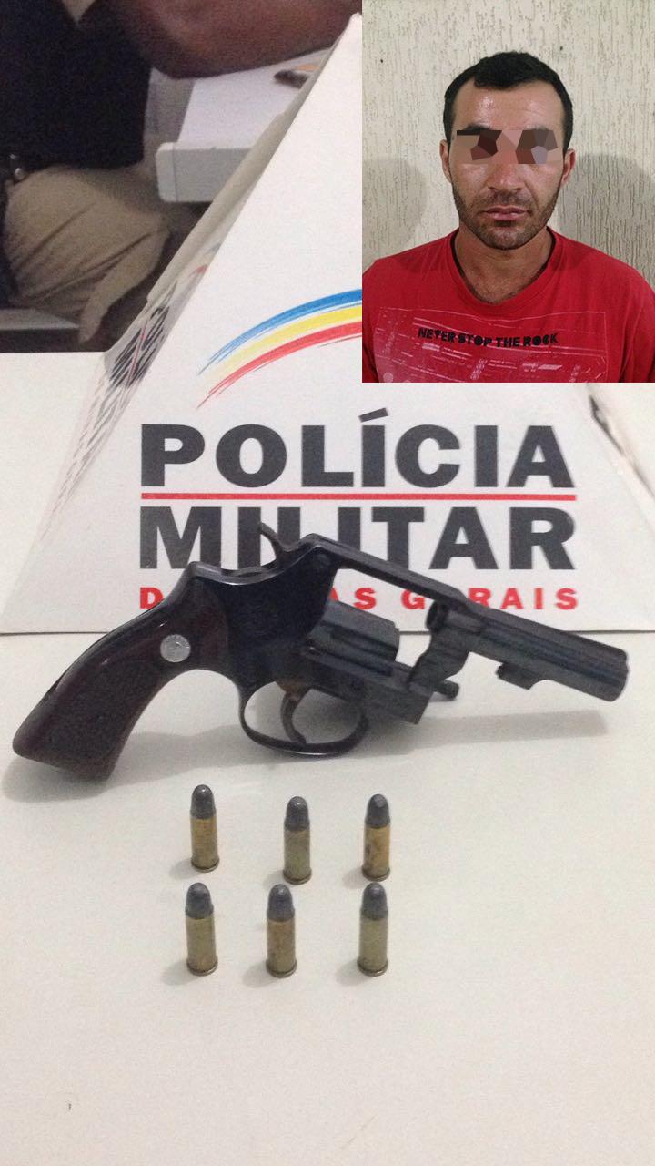 POLÍCIA MILITAR PRENDE HOMEM COM REVOLVER 32 NA CINTURA