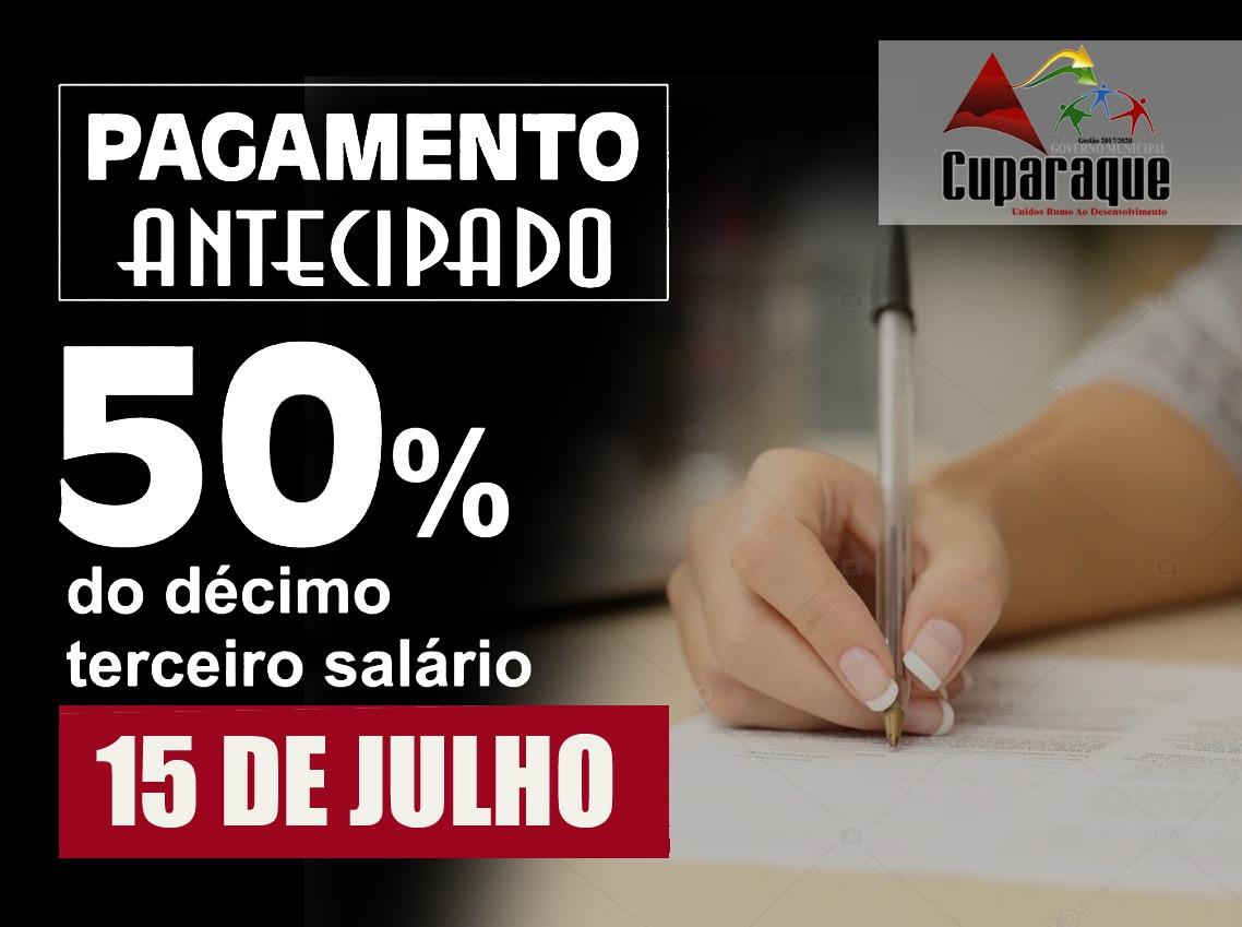 PREFEITURA DE CUPARAQUE ANTECIPA PAGAMENTO DE 50% DO 13.º DOS SERVIDORES