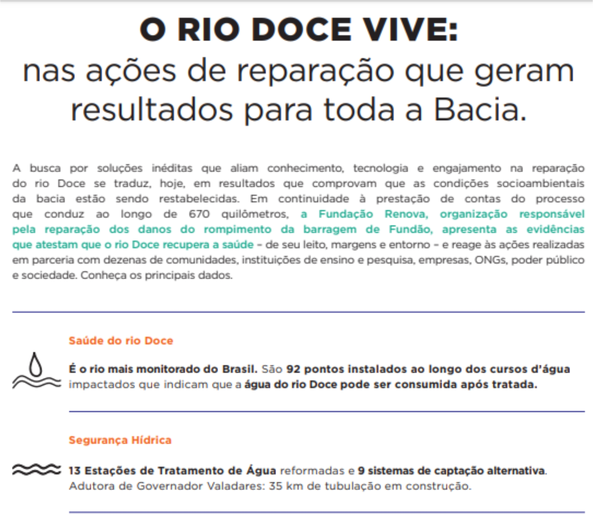 O RIO DOCE VIVE: NAS AÇÕES DE REPARAÇÃO QUE GERAM RESULTADOS PARA TODA A BACIA