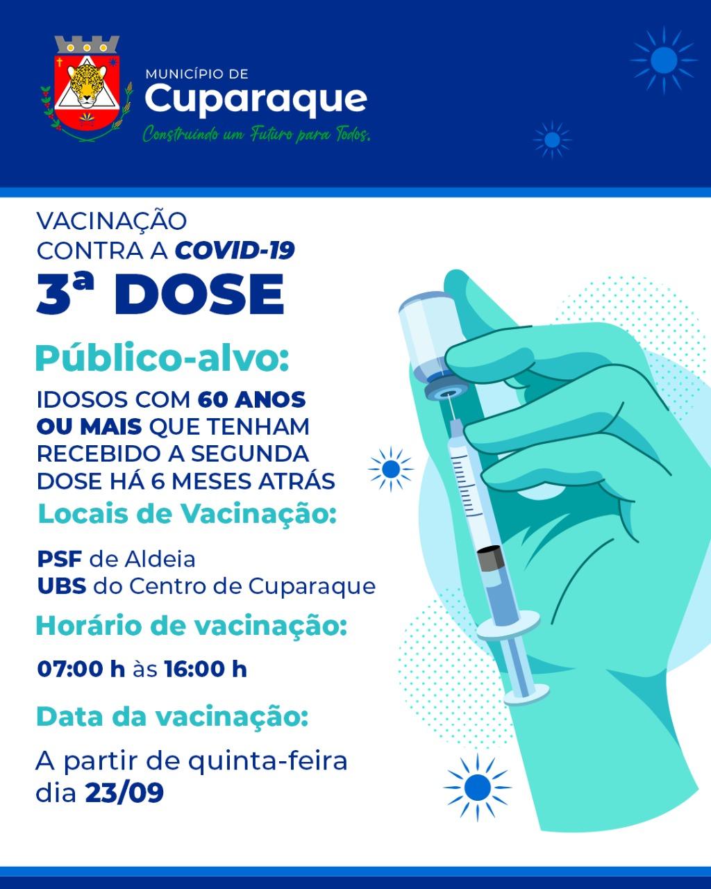 CUPARAQUE COMEÇA A VACINAR 3.ª DOSE CONTRA COVID EM IDOSOS COM MAIS DE 60 ANOS
