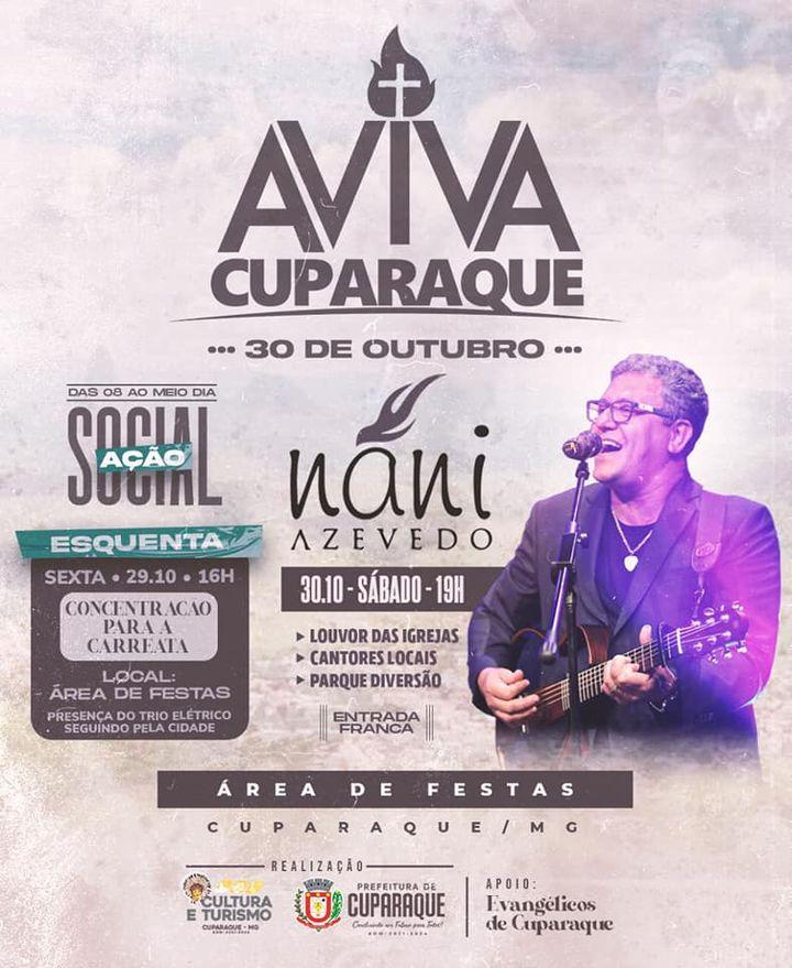 AVIVA CUPARAQUE – 30 DE OUTUBRO NA ÁREA DE FESTAS- VENHA LOUVAR !